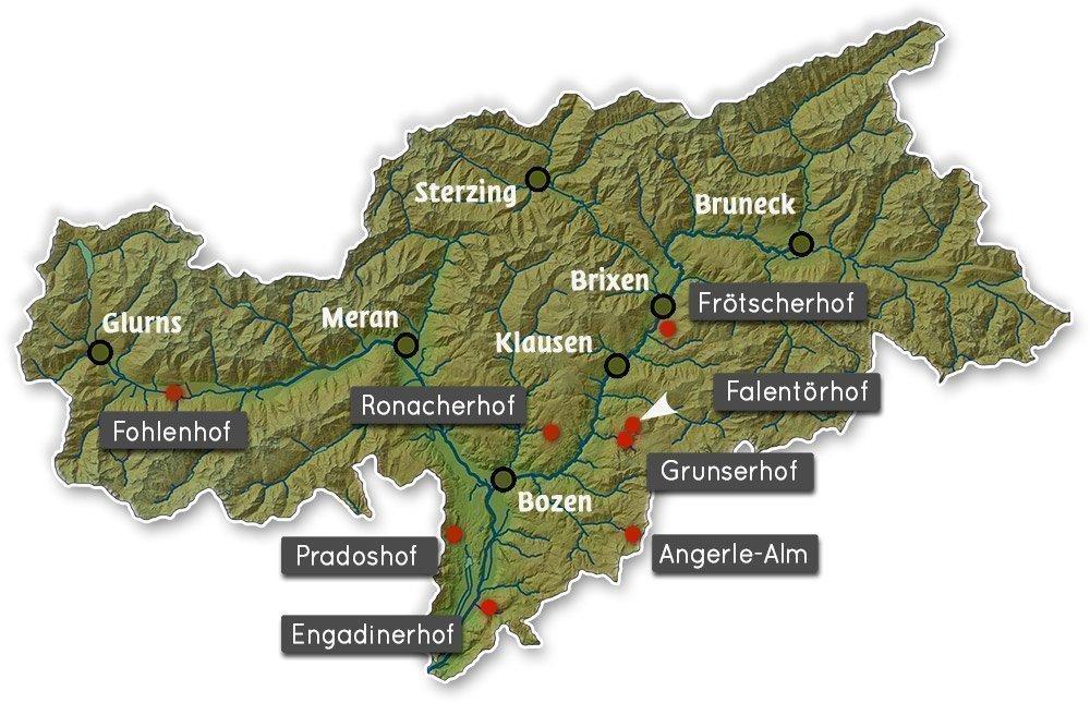 Südtirol Karte der 8 Höfe